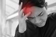 sick businessman suffering from stress, headache, vertigo, migraine, emotional problem
