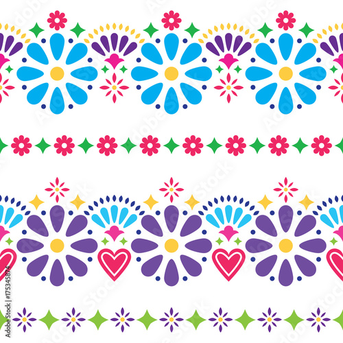 Fotografija  Mexican folk seamless vector background - colorful long designs with flowers