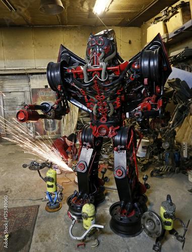 Mechanic Kulagin works on his