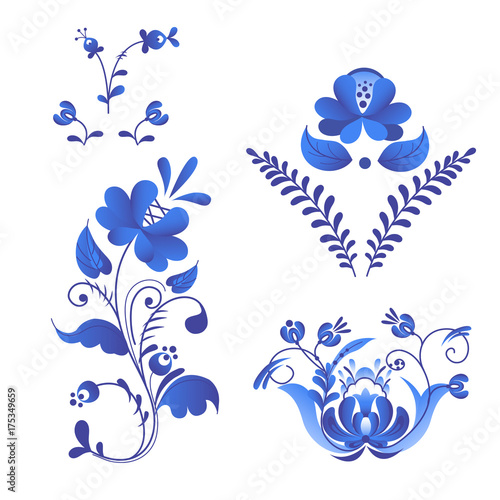 Fotografija  Russian ornaments art gzhel style painted with blue on white flower traditional folk bloom branch pattern vector illustration