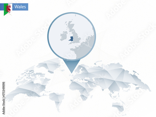 Abstract rounded World Map with pinned detailed Wales map. – kaufen ...