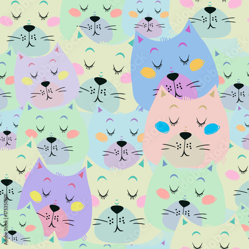 Seamless Pattern With Cute Sleeping Cat On Light Blue Background It Can Be Used As Wallpaper Desktop Printing Wrapping Fabric Or Background For Your Blog Covers Card And Your Design Buy