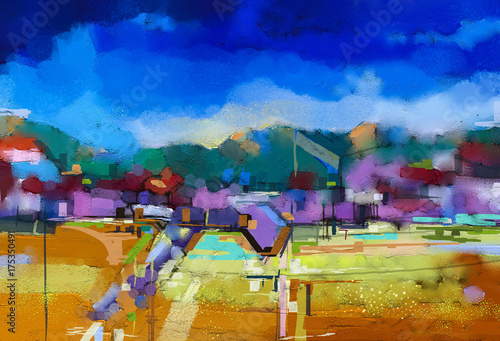 Abstract oil painting landscape. Colorful blue purple sky. Oil painting outdoor landscape on canvas. Semi abstract tree, hill and field, meadow. Sunset, fall season landscape nature background - 175350491