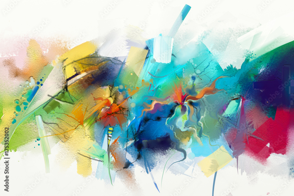 Fototapeta Abstract colorful oil painting on canvas texture. Hand drawn brush stroke, oil color paintings background. Modern art oil paintings with green, red and blue. Abstract contemporary art for background