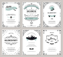 Set Of 6 Halloween Cards. Vect...