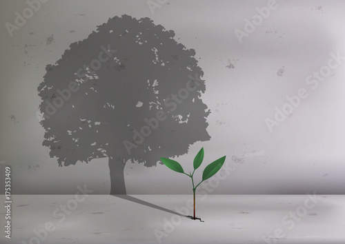 Fotografie, Obraz arbre - pousse - concept - écologie - plante - écologique - croissance