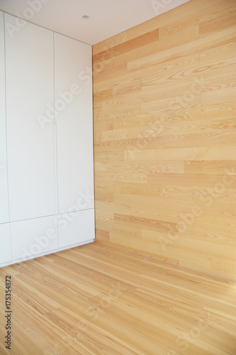 Wood Flooring with modern wooden wall as interior room design. Canvas Print