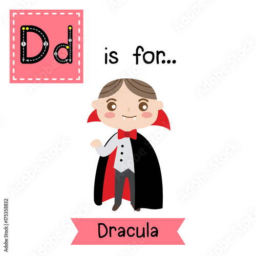 Fotografie, Obraz  Cute children ABC alphabet D letter tracing flashcard of Dracula for kids learning English vocabulary in Happy Halloween Day theme