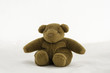 soft toy teddy bear sitting on white background.