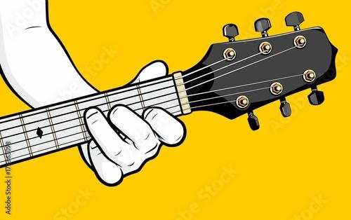 Obraz na plátne Man hand playing guitar F chord