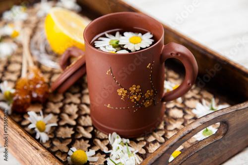 Foto op Plexiglas Chocolade Cup of chamomile tea
