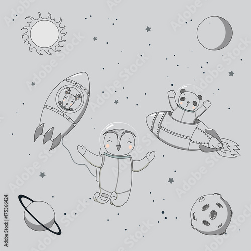 Photo Stands Illustrations Hand drawn monochrome vector illustration of a cute funny deer and panda astronauts in rockets and owl on a spacewalk, on a background with planets and stars.