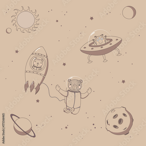 Photo Stands Illustrations Hand drawn sepia vector illustration of a cute funny alien in a flying saucer, bear astronaut in a rocket and bear on a spacewalk, on a background with stars.