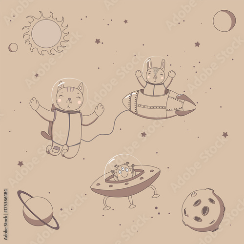 Photo Stands Illustrations Hand drawn sepia vector illustration of a cute funny alien in a flying saucer, rabbit astronaut in a rocket and cat on a spacewalk, on a background with stars.