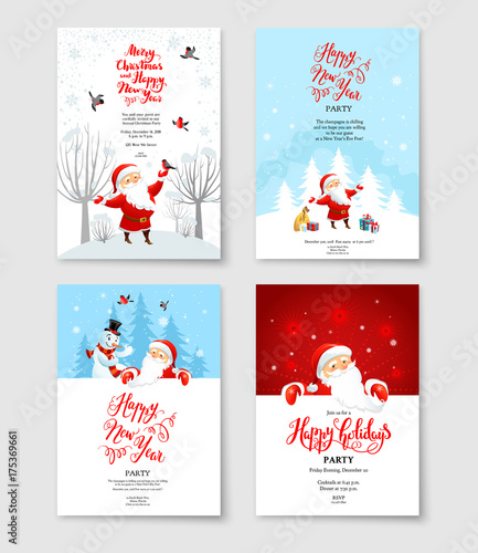 Fotobehang - Santa party invitation set