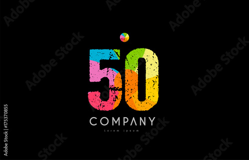 Photo  50 number grunge color rainbow numeral digit logo
