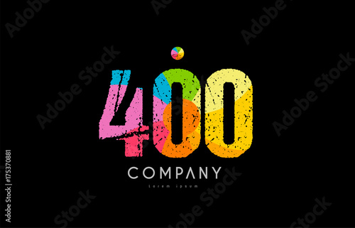 Fotografia  400 number grunge color rainbow numeral digit logo