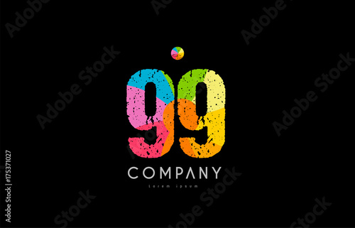 Photographie  99 number grunge color rainbow numeral digit logo