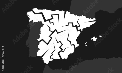 Cuadros en Lienzo Spain with cracks - deterioration, decline, failure and decay of the Spanish country