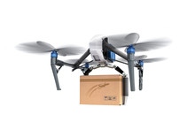 Delivery ConceptGeneric Design Remote Control Air Drone Flying Craft Box Post Fast Delivery 3D Rendering On White
