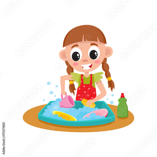 Poster Magic world Little girl washing dishes in water sink, daily routine, home chore, cartoon vector illustration isolated on white background. Cartoon little girl washing dishes, helping with house chore