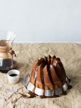 Bundt Cake With Caramel Glaze And Coffee