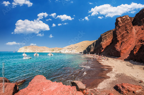 Poster Santorini Red beach. Santorini, Cycladic Islands, Greece. Beautiful summer landscape with one of the most famous beaches in the world.