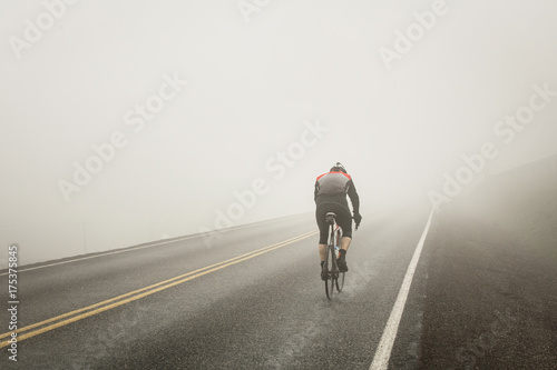Riding int he fog