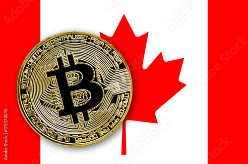Spoed Foto op Canvas Canada coin bitcoin on the flag of Canada