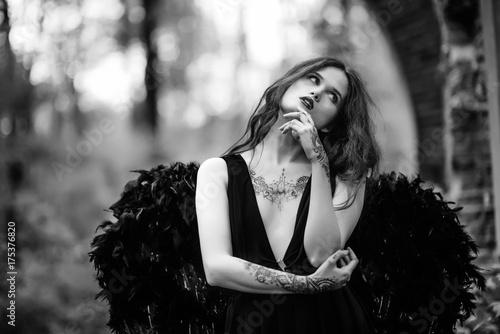 Fotografie, Obraz  Fallen angel with black wings