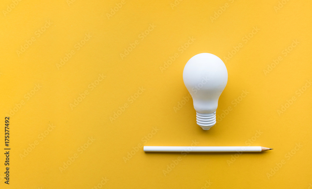 Fototapety, obrazy: Creativity inspiration,ideas concept with lightbulb and pencil on pastel color background.Flat lay design.