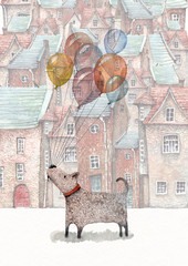 FototapetaA watercolor illustration of a little dog holding a bunch of balloons, walking in an old town appearing on the background.