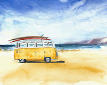 Beach Landscape Minivan Surfbo...