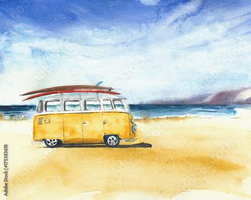 Poster Retro Beach landscape minivan surfboards yellow bus travel destination sport activity watercolor painting illustration
