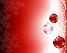 Three Christmas Baubles Hangin...