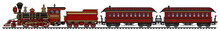Vintage Red American Steam Train