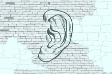 Ear Graffiti Tattoo Silhouette On A Background Old Walls