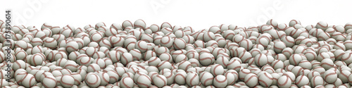 Photographie Baseballs pile panorama / 3D illustration of panoramic view of hundreds of baseb