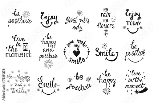 1554444 Vector set of hand drawn calligraphy phrases. Positive typograph