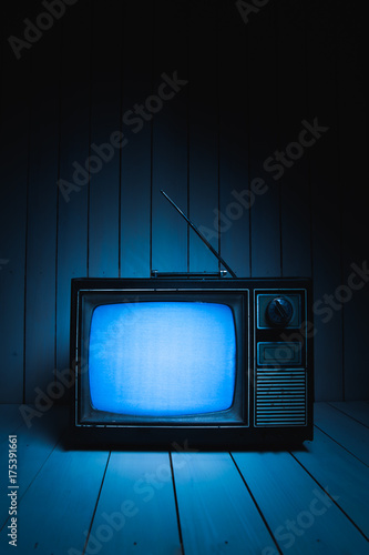 Photo  Retro television with white noise / high contrast image