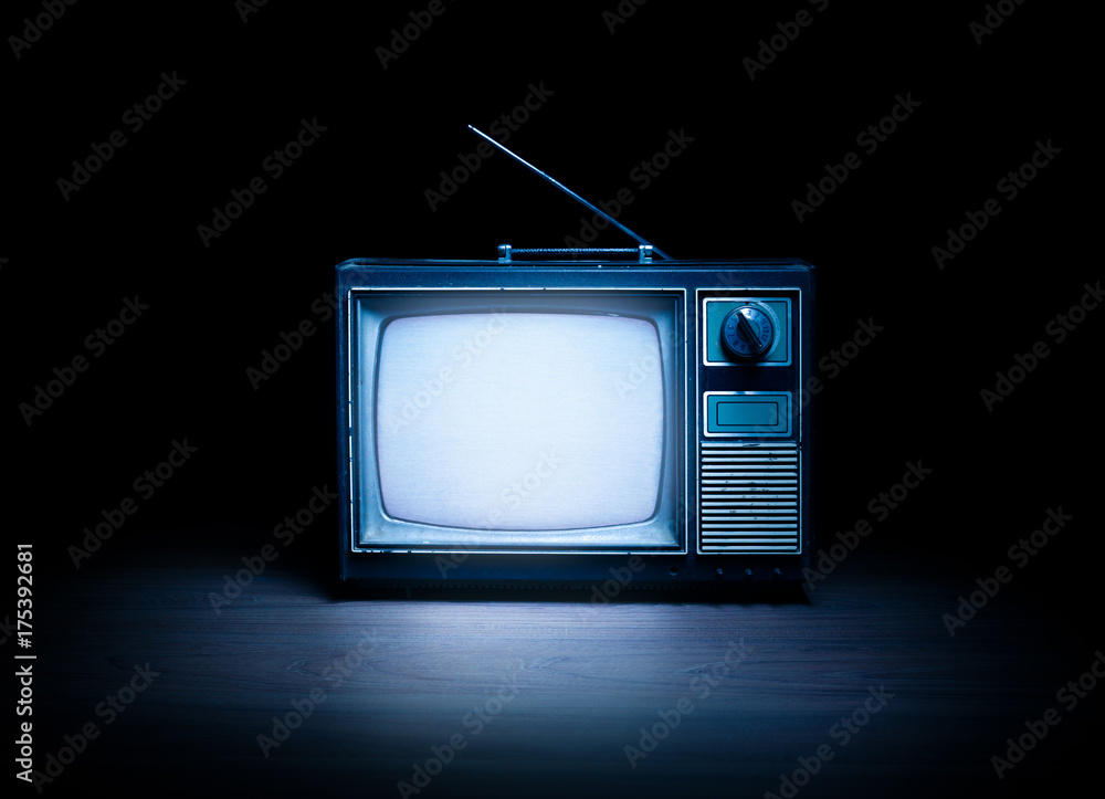 Fototapeta Retro television with white noise / high contrast image