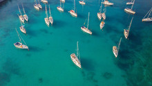 Aerial View Of Group Of Sailin...