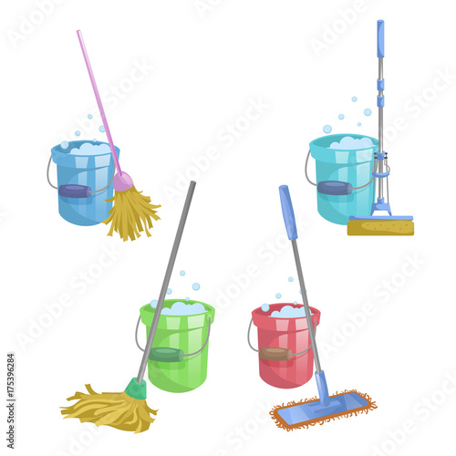 Cartoon House And Apartment Cleaning Service Icon Set Mops With Bucket Washing Liquid
