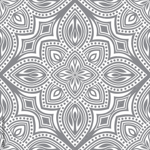 Cotton fabric Seamless pattern of elements in Oriental style. Floral motifs.