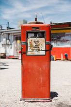 Red Old Gas Pump