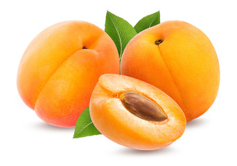 Fresh three apricots with leafs isolated on white background
