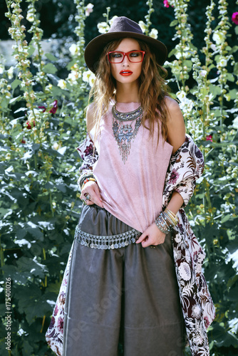 Poster Gypsy young hipster girl