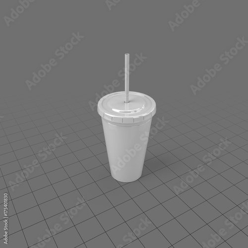 Plastic cup with lid and straw  Buy this stock 3d asset and explore