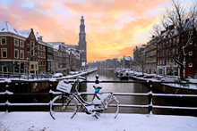 Amsterdam Covered With Snow Wi...