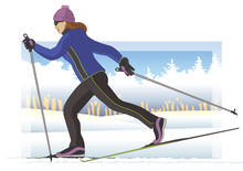 Cross-country Skier, Female Gliding On Snow With Trees In Background